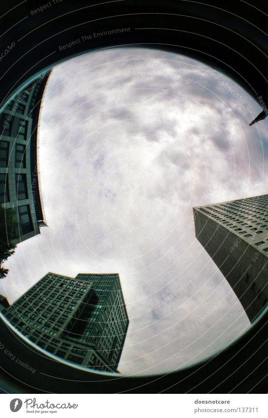 scraping the sky. (die bevölkerung des mondes.) Himmel Stadt Wolken Gebäude Architektur Hochhaus modern Leipzig aufwärts Bürogebäude schlechtes Wetter