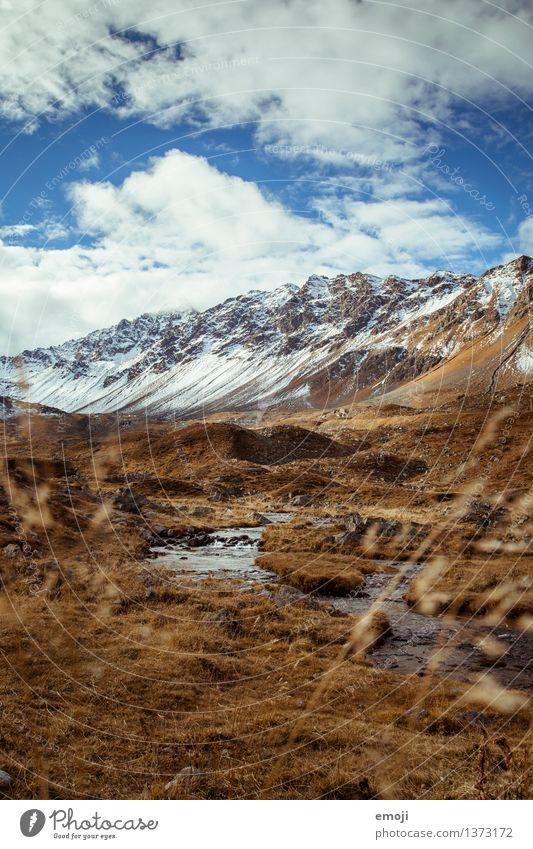 Bach Umwelt Natur Landschaft Herbst Klima Wetter Schönes Wetter Schnee Wiese Alpen Berge u. Gebirge Gipfel Schneebedeckte Gipfel natürlich blau braun Schweiz
