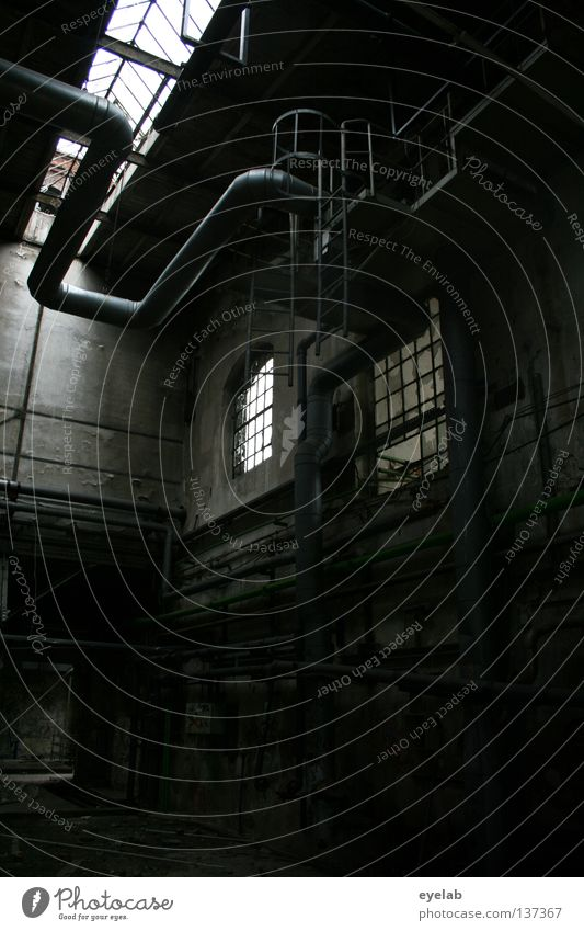 Verlagerung Gebäude Haus Fabrik Dach Deckenbeleuchtung Blech Lüftung Abluft leer Leerstand Arbeit & Erwerbstätigkeit Fenster Wand Maschine dunkel Industrie