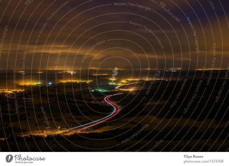 Nacht der Sierra del Perdon Leben Ferien & Urlaub & Reisen Landschaft Stadt Verkehr Straße Autobahn PKW Bewegung dunkel lang rot weiß Farbe Licht schnell
