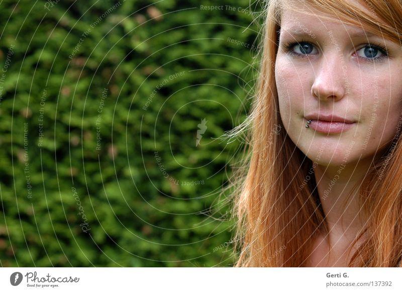 magical Frau Natur schön grün Gesicht Auge Haare & Frisuren Kopf Haut Sträucher rein Klarheit Porträt Kraft langhaarig Piercing