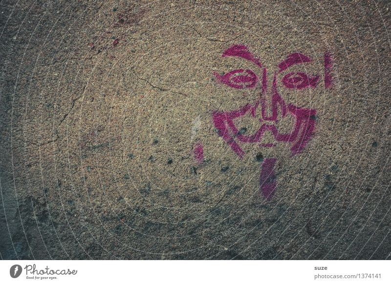 Vendetta Gesicht Wand Graffiti Mauer grau Freiheit Fassade einfach Zeichen Coolness Maske Karneval Frankreich Comic anonym Korsika