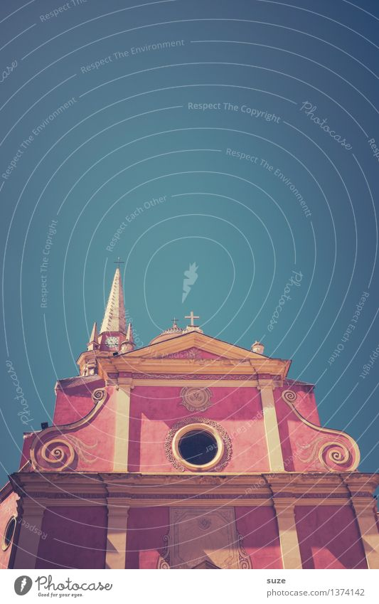 Himmelherrgottnochmal Ferien & Urlaub & Reisen Stadt alt Sommer Haus Reisefotografie Wärme Religion & Glaube außergewöhnlich rosa Platz Kirche Europa