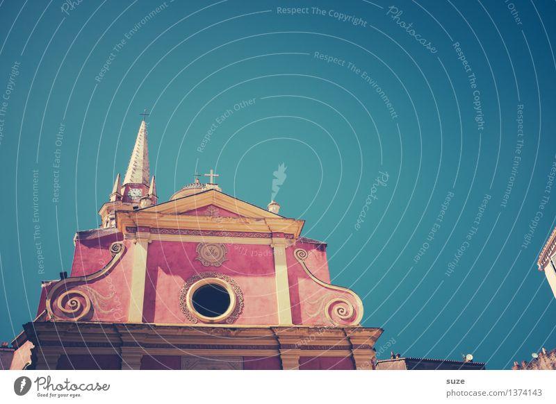 Chantallismus Himmel Ferien & Urlaub & Reisen alt Sommer Stadt Haus Reisefotografie Wärme Religion & Glaube außergewöhnlich rosa Kirche Europa Kultur Platz