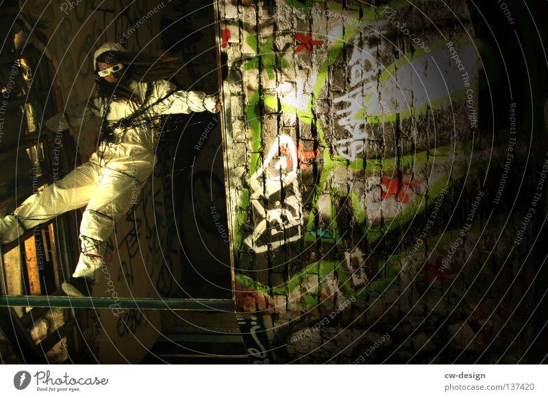 TAPE 3000 - HIPHOPMIXTAPE I Mensch Mann Jugendliche Freude Einsamkeit Erholung Wand Graffiti Freiheit Haare & Frisuren springen Mauer Stil Beine Luft Arme