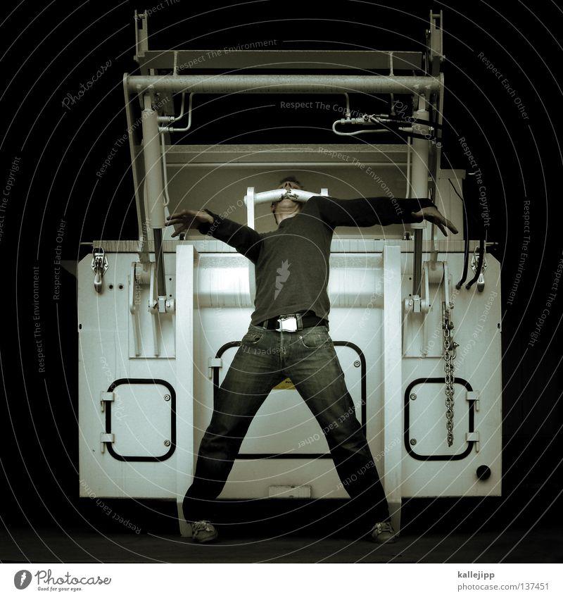 müllschlucker Mensch Mann weiß schwarz Tod Arbeit & Erwerbstätigkeit Kraft Show Gebiss Müll stark Theaterschauspiel Bühne Gesichtsausdruck Container gefangen