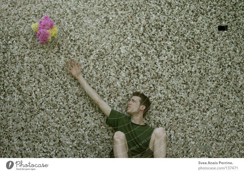 unerreichbar Mann Jugendliche schön Blume gelb rosa sitzen warten maskulin Geschenk Romantik Vergänglichkeit Versuch Liebeskummer Schwäche Erreichen