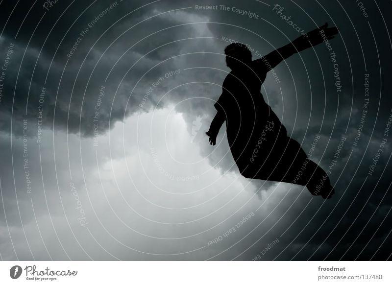 apokalypse now Mensch schön Wolken dunkel Freiheit springen Regen Vogel fliegen frei Luftverkehr Engel Symbole & Metaphern Unwetter Schweben Gewitter