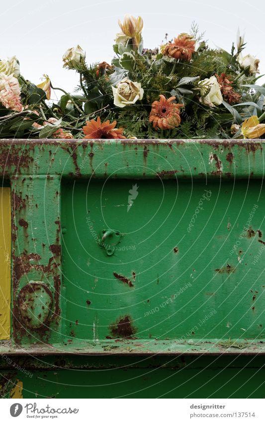 vergänglich schön Blume Blumenstrauß Gesteck Müll Biomüll Rest Tod welk Schmuck verschönern geschmückt hässlich Aufgabe resignieren Müllbehälter frisch