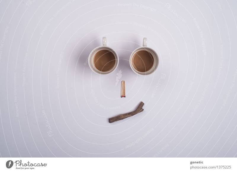 Noch'n Milchkaffee? Gesicht Holz Kreativität Knolling Super Stillleben Kaffee Streichholz Farbfoto