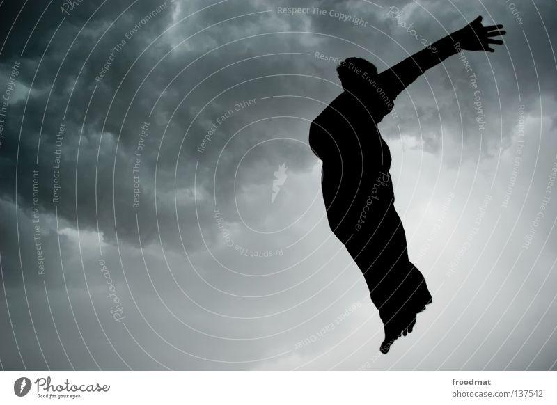 himmelfahrt Mensch Mann Wolken dunkel Freiheit springen Regen Vogel fliegen frei Luftverkehr Symbole & Metaphern Konzentration Unwetter Schweben Gewitter