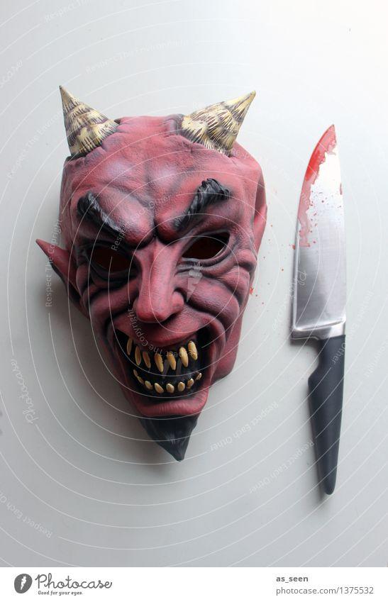 Maskerade Karneval Halloween Kopf Kunst Theaterschauspiel Schauspieler Subkultur Show Teufel Messer Blut Aggression bedrohlich dunkel exotisch gruselig rot