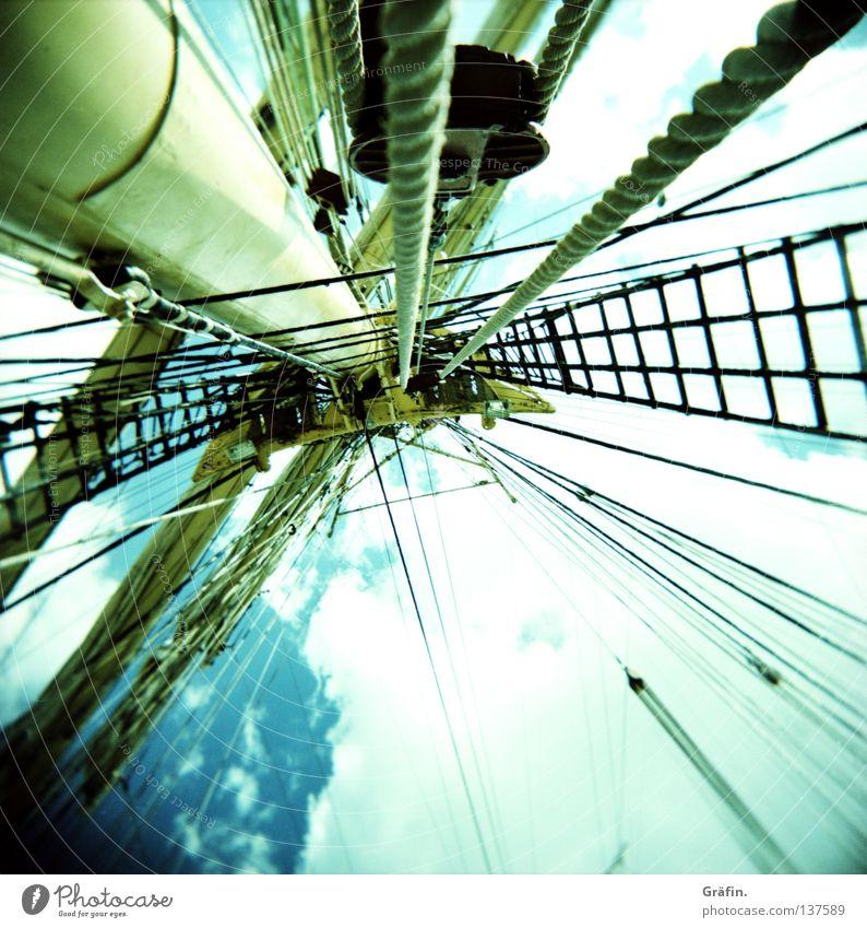 Hafengeburtstag Himmel Wolken Ferne Holz Wasserfahrzeug Seil Netz Schönes Wetter Aussicht Schifffahrt Holga Strommast Russland Block Segelschiff