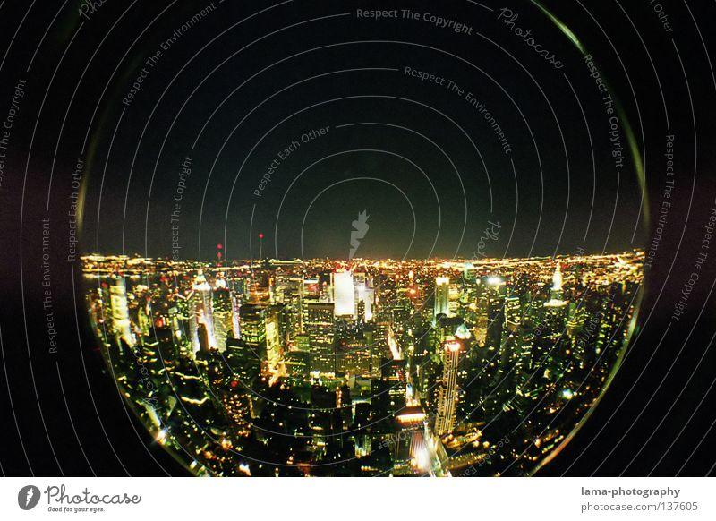 Manhattan Nights Stadt Haus groß Hochhaus Kreis USA rund Kugel analog Amerika Skyline New York City Waschmaschine Momentaufnahme