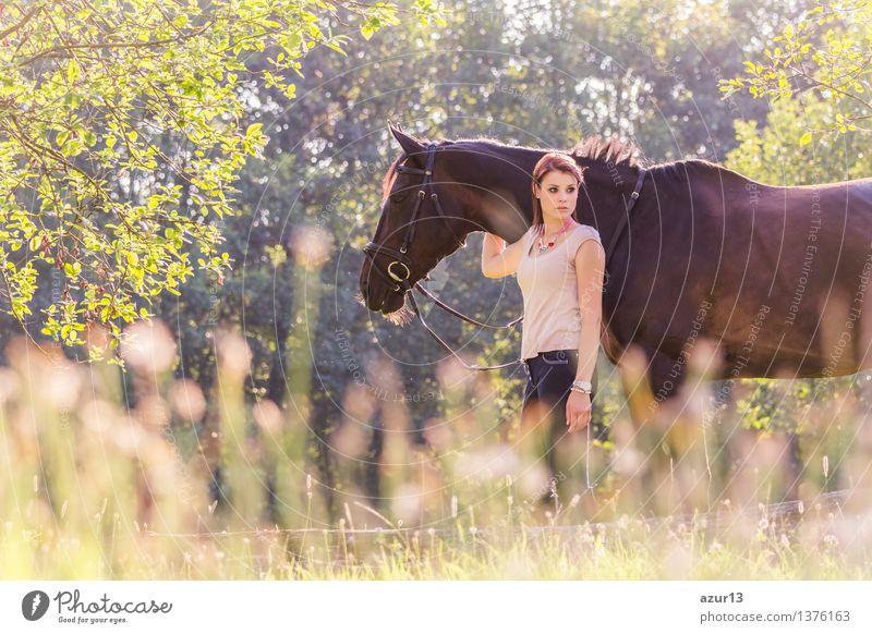 Beautiful young equestrian woman with horse in summer sun nature Lifestyle Glück schön harmonisch Wohlgefühl Zufriedenheit ruhig Freizeit & Hobby Reiten