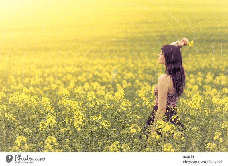 Schöne junge Frau im Sommer auf gelber Wiese seitlich von hinten Mensch Natur Ferien & Urlaub & Reisen Jugendliche Pflanze schön grün Junge Frau Sonne