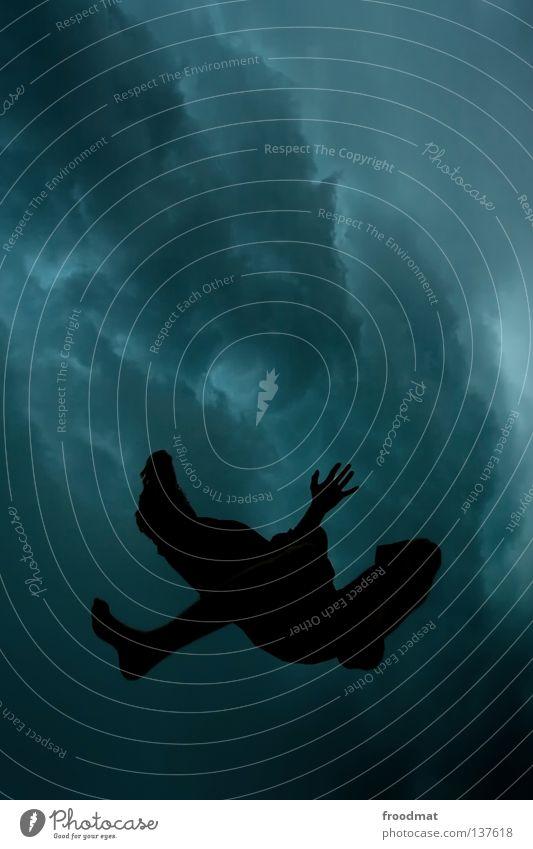 unterwasser Mensch Mann schön Wolken dunkel Freiheit fliegen Vogel springen Regen frei Luftverkehr Symbole & Metaphern tauchen Unwetter himmlisch