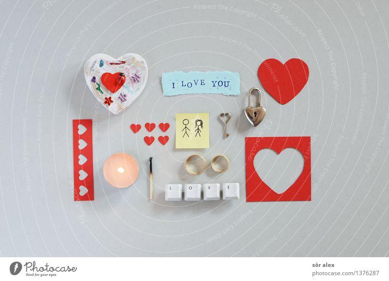 All You Need ... Kerze Streichholz Schloss Schlüssel Ring Ehering Geschenk Zeichen Schriftzeichen Ziffern & Zahlen Herz grau rot Gefühle Partnerschaft Paar