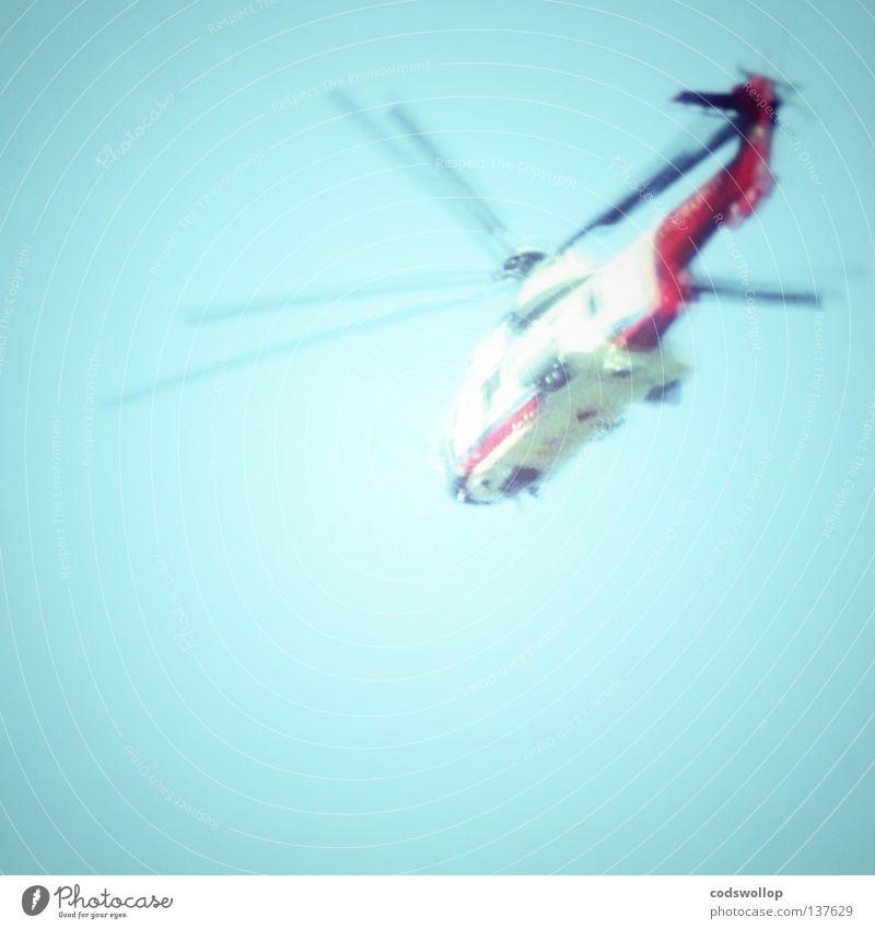 chopper Himmel blau fliegen Luftverkehr Güterverkehr & Logistik Hubschrauber