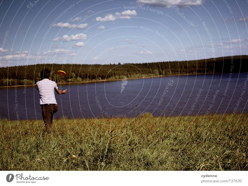 Fang mich doch! Spielen Freizeit & Hobby Frisbee fangen Panorama (Aussicht) Frühling Sommer atmen toben Wolken genießen Erholung See Stausee Wiese Partnerschaft