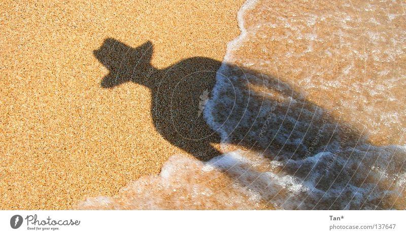 Ein Schatten aus dem Meer Mann Wasser Ferien & Urlaub & Reisen Sonne Sommer Strand schwarz dunkel Wärme Sand Stein hell Erde braun Wellen
