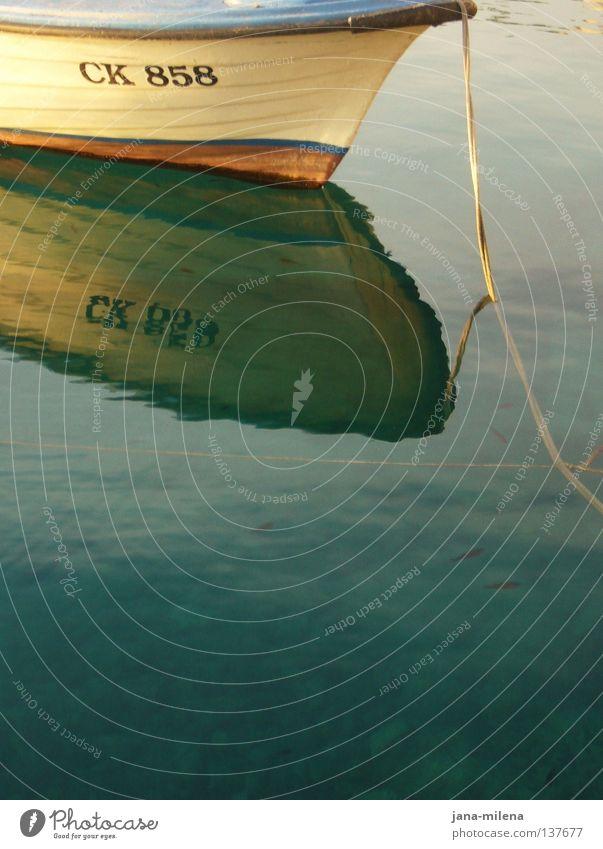 CK 858 Wasserfahrzeug weich türkis Wasseroberfläche Gemälde gemalt Reflexion & Spiegelung Ferien & Urlaub & Reisen ruhig träumen Sommer sommerlich Meer See