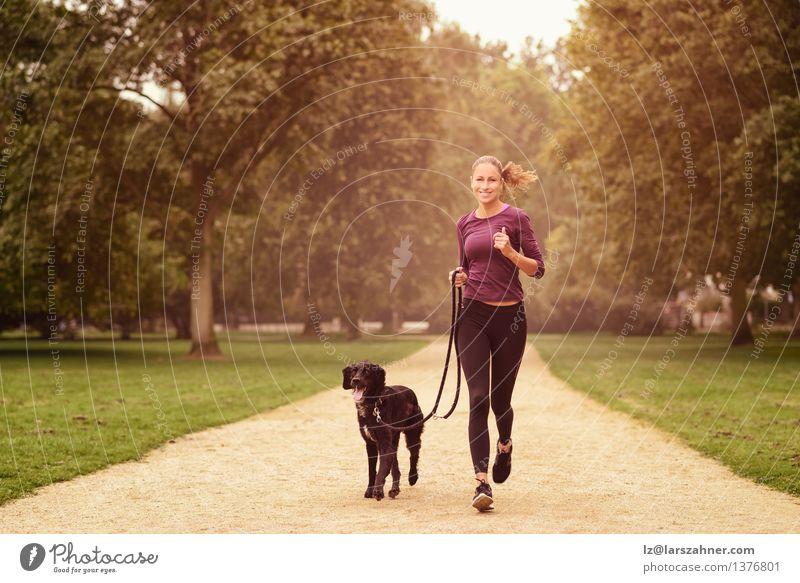 Gesunde Frau, die im Park mit ihrem Hund rüttelt Lifestyle Erholung Sommer Sport Joggen Erwachsene Freundschaft Tier Wege & Pfade Haustier Fitness Lächeln