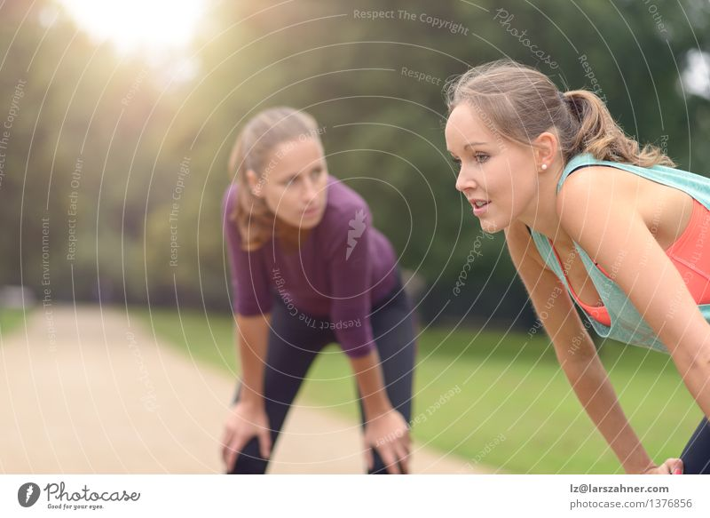 Frauen, die nach ihrer Übung im Freien stillstehen Mädchen Gesicht Erwachsene Wege & Pfade Sport Lifestyle Freundschaft Park Aktion Textfreiraum blond Lächeln