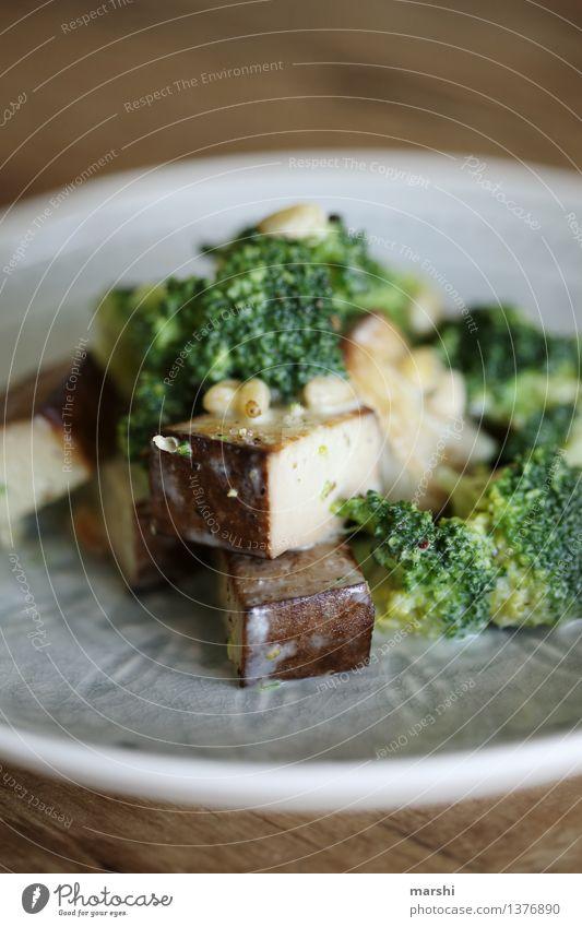 Tofu Lebensmittel Gemüse Ernährung Essen Mittagessen Abendessen Bioprodukte Vegetarische Ernährung Diät Stimmung Gesunde Ernährung Brokkoli Pinienkern Teller
