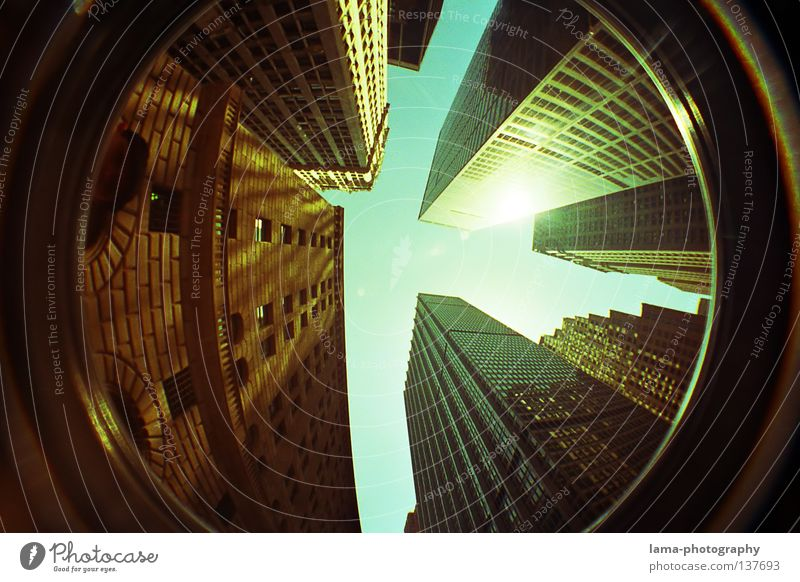 Touch the sky Himmel Stadt Haus hoch Hochhaus groß Kreis rund USA Niveau Kugel analog Amerika aufwärts vertikal New York City