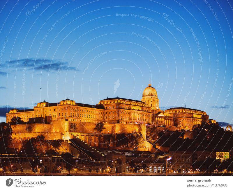 Budapest in der Nacht Himmel Ferien & Urlaub & Reisen Ferne Architektur Zeit Freiheit Tourismus Ausflug Abenteuer Bauwerk Burg oder Schloss Wahrzeichen Denkmal