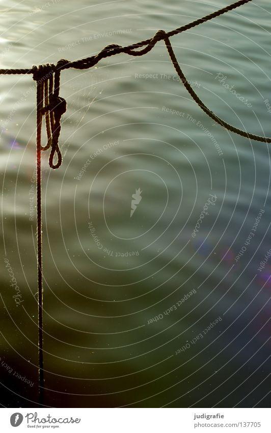 Hafen Wasser Farbe Wasserfahrzeug Seil Freizeit & Hobby Handwerk hängen durcheinander Knoten Befestigung Abendsonne verwickelt Ankerplatz