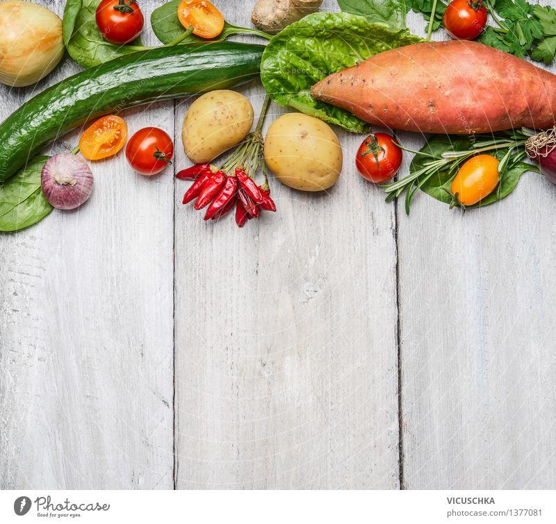 Bio-Bauernhof Gemüse und Zutaten für gesundes Kochen Natur Sommer Gesunde Ernährung Leben Stil Hintergrundbild Garten Lebensmittel Design Tisch Küche