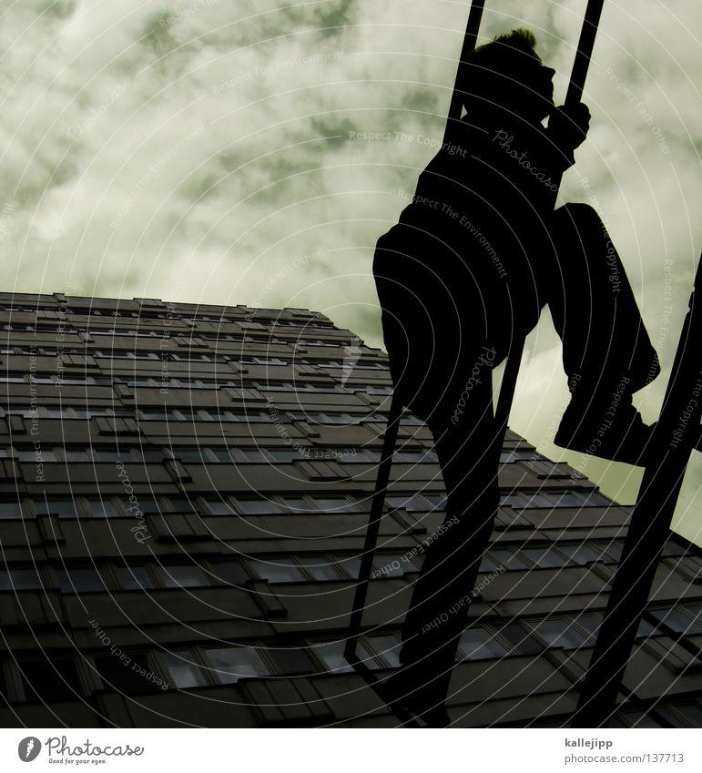 in the air tonight Mann Silhouette Dieb Krimineller Ausbruch Flucht umfallen Fenster Parkhaus Geometrie Gegenlicht Jacke Mantel Mütze Strahlung Thriller