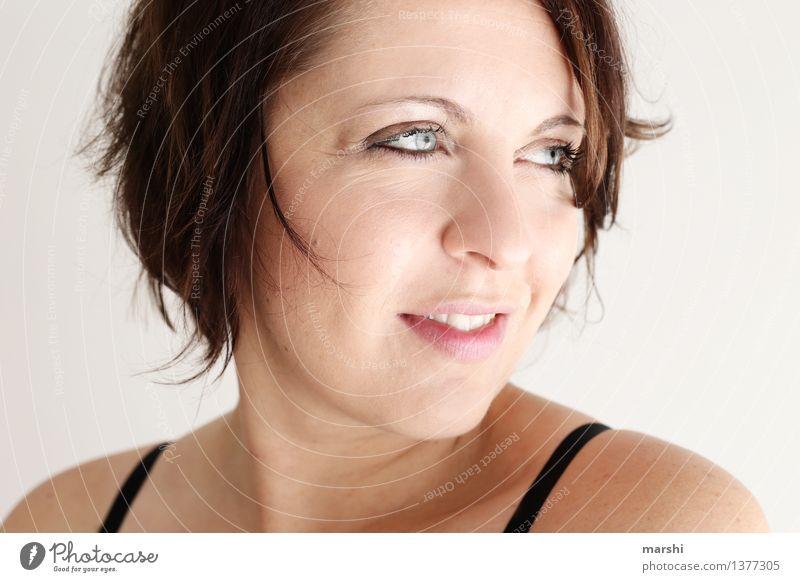 Blick zur Seite Stil Mensch feminin Junge Frau Jugendliche Erwachsene Kopf Gesicht 1 30-45 Jahre Haare & Frisuren brünett Gefühle Stimmung Freude Glück