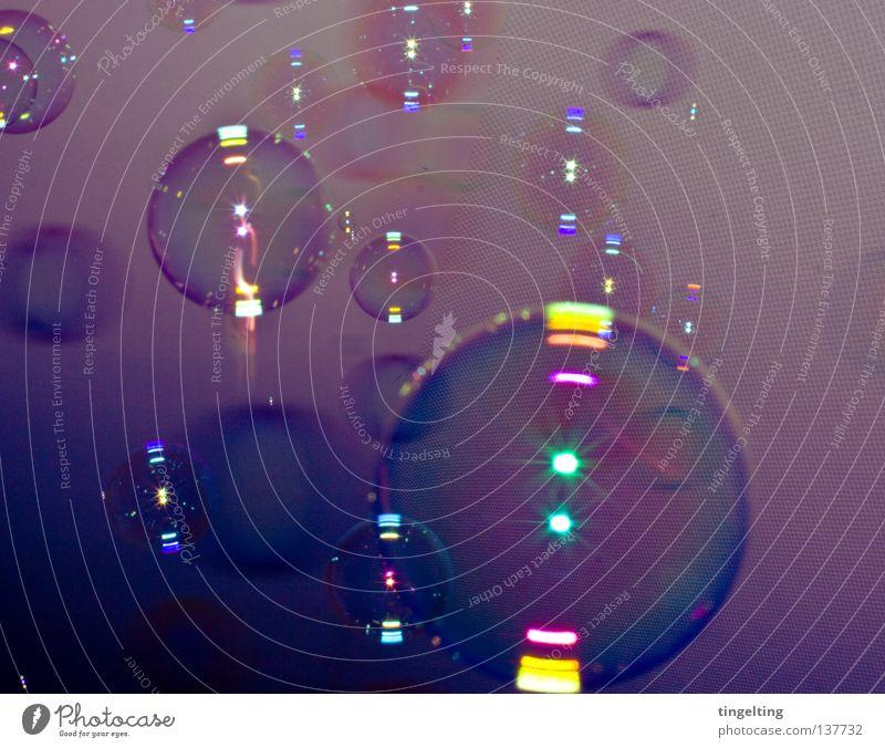 sie kommen gelb dunkel Luft klein fliegen groß Kreis mehrere rund violett Kugel Blase blasen leicht viele durchsichtig