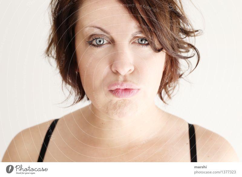 Schmolllippe Stil Freizeit & Hobby Mensch feminin Junge Frau Jugendliche Erwachsene Kopf 1 30-45 Jahre Haare & Frisuren brünett Gefühle Stimmung schmollen