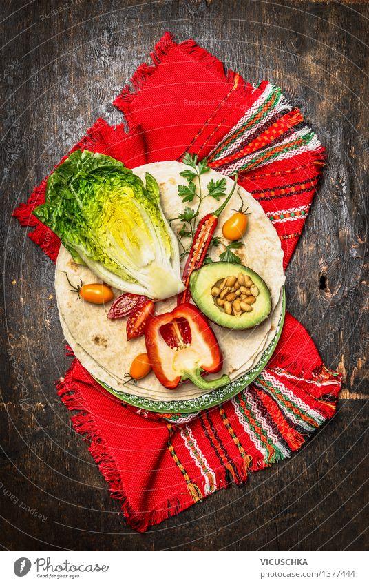 Tortillas und Gemüse Zutaten für Burritos oder Tacos Lebensmittel Brot Ernährung Mittagessen Abendessen Festessen Picknick Bioprodukte Vegetarische Ernährung