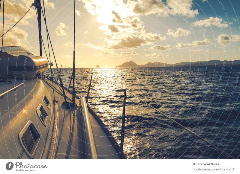 Richtung Horizont Ferien & Urlaub & Reisen Abenteuer Wassersport Segeln Landschaft Meer Karibik Karibisches Meer Passatwind Schifffahrt Bootsfahrt Jacht