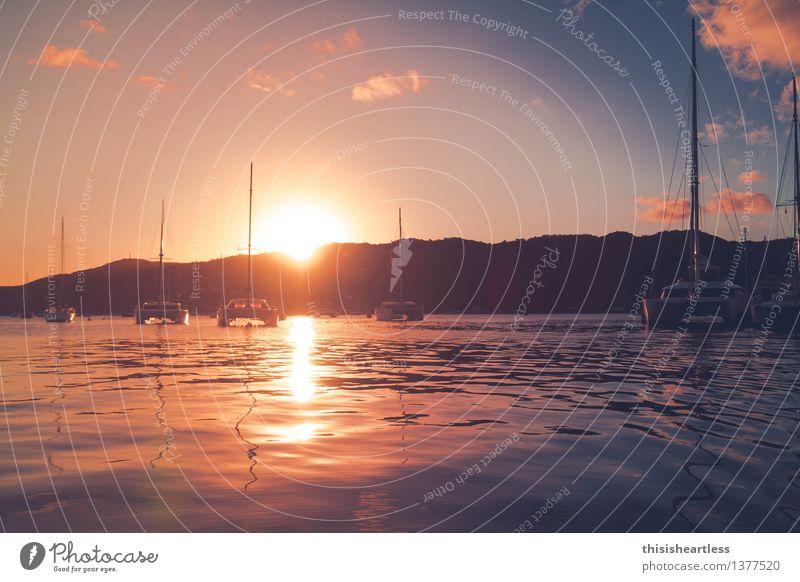 Lila Wolken II Himmel Ferien & Urlaub & Reisen blau Sommer Wasser Sonne Meer Ferne gelb Freiheit liegen Wellen Insel Lebensfreude nass