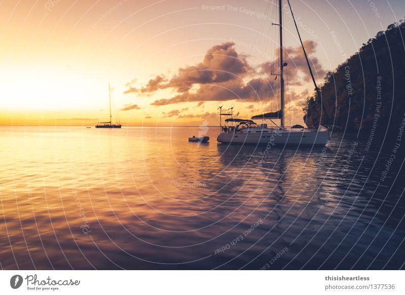 Sundowner Ferien & Urlaub & Reisen blau grün schön Wasser Meer gelb Gefühle Küste Glück Lifestyle träumen gold ästhetisch Insel Lebensfreude