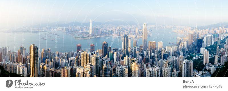 Hong Kong Ferien & Urlaub & Reisen Stadt Meer Haus Architektur Gebäude Fassade Horizont Wachstum Hochhaus groß Turm Bauwerk Asien Hafen Skyline