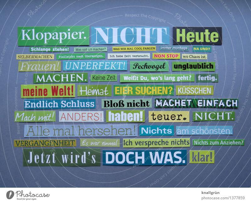 Klopapier. grün weiß Gefühle grau Kunst Schilder & Markierungen Schriftzeichen Kreativität Kommunizieren Idee einzigartig Inspiration eckig Anhäufung Text