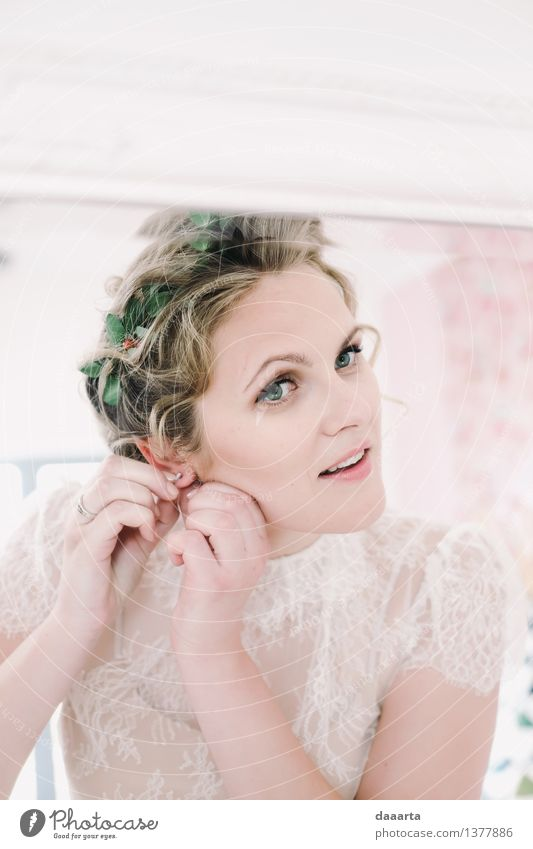 Braut Pflanze schön Blatt Freude Wärme Blüte feminin Stil Lifestyle Feste & Feiern Haare & Frisuren Freiheit Stimmung wild Freizeit & Hobby elegant
