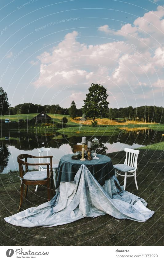Piknik-Einstellung Natur Ferien & Urlaub & Reisen Sommer Baum Wolken Freude Umwelt Leben Liebe Stil Lifestyle Feste & Feiern Freiheit Stimmung Design
