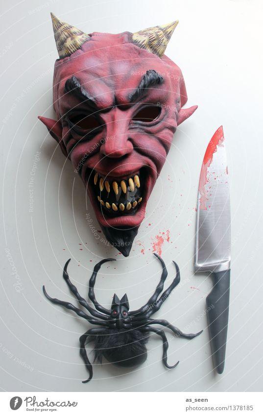 Scary nightmare Party Karneval Halloween Maske Spinne Messer Teufel Blut Aggression außergewöhnlich bedrohlich dreckig dunkel Ekel gruselig hässlich rot schwarz