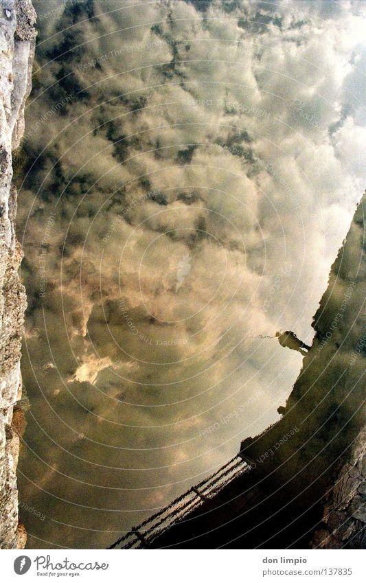 supernova Mensch Wasser Himmel Wolken Brücke Fluss analog Doppelbelichtung Supernova