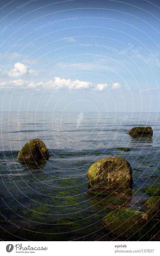 Aller guten Dinge sind 3 Wasser Himmel Meer Pflanze Sommer Strand Ferien & Urlaub & Reisen Wolken Ferne Stein See Küste Wellen nass Horizont