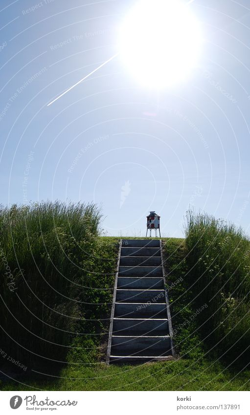 ascension Natur Himmel Sonne grün blau Sommer Ferien & Urlaub & Reisen ruhig Wiese Wärme Flugzeug Treppe Physik Idylle Schönes Wetter Skandinavien