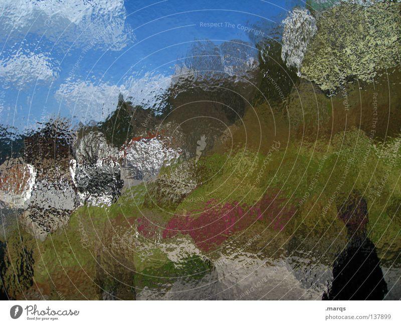 Once upon a time... Mensch blau grün weiß Sommer Farbe Landschaft träumen Kunst braun Hintergrundbild Glas streichen Dorf Gemälde gebrochen